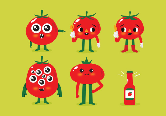 Vector Cute Tomato Monsters - vector gratuit #353957