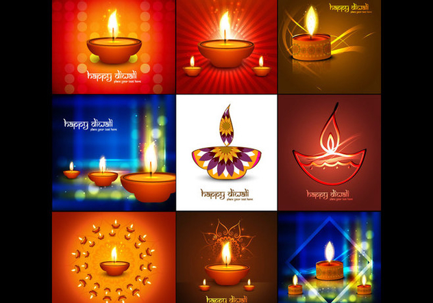 Collection Of Diwali Card - Kostenloses vector #354367