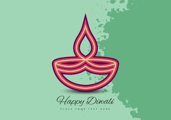 Diwali Festival Celebration Card With Oil Lamp - vector gratuit #354377
