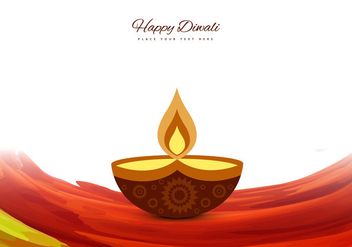 Decorative Diya On Colorful Wave - vector gratuit #354397