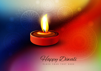 Oil Lit Diya On Colorful Background - Free vector #354417