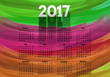Colorful Calendar Of Year 2017 - Kostenloses vector #354427