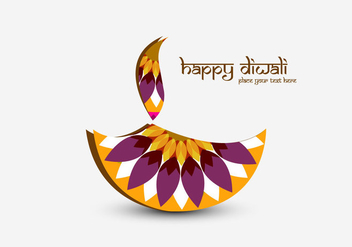 Happy Diwali With Decorative Diya - vector gratuit #354487