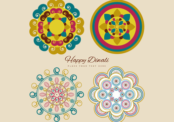 Collection Of Colorful Rangoli - vector gratuit #354497