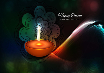 Oil Lamp And Rangoli On Wave Background - Free vector #354527