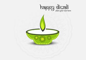 Happy Diwali Text With Oil Lamp On Grey Background - vector gratuit #354537