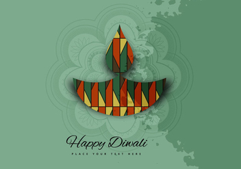 Decorative Oil Lamp With Rangoli On Diwali - vector gratuit #354657