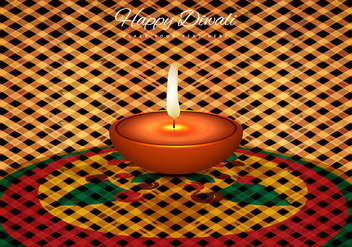Oil Lit Lamp On Rangoli - Free vector #354677