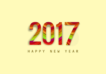 Stylish New Year 2017 Card - vector gratuit #354737