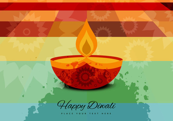 Lighted Diya On Abstract Background - бесплатный vector #354797