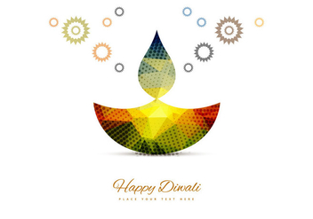 Stylish Colorful Diwali Diya - vector gratuit #354807