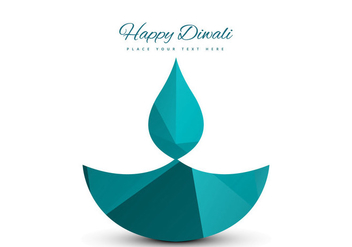 Vector Diya Design On Happy Diwali Card - vector gratuit #354857