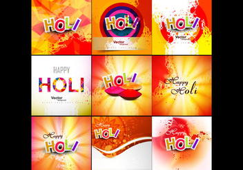 Set Of Happy Holi Card - Kostenloses vector #354947