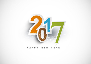 Happy New Year 2017 Text Design - Kostenloses vector #354977