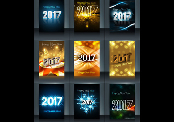 Glowing 2017 Happy New Year Card - vector gratuit #355107