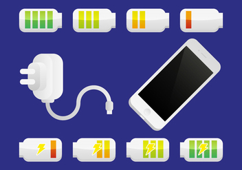 Phone Charger Battery Illustration Vector - Free vector #355377