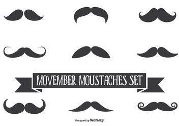 Movember Vector Moustache Set - Kostenloses vector #355517
