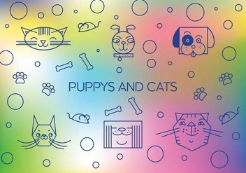 Free Cute Puppys And Cats Vector - vector gratuit #355697
