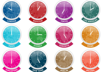 International Time Zone Clock Vectors - Free vector #355867