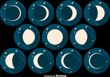 Moon Phases Flat Vector Icons - Free vector #356107
