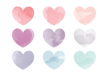 Vector Watercolor Hearts - Free vector #356197