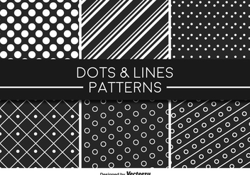 Monochromatic Lines and Dots Vector Pattern - Free vector #356257
