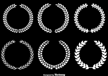 White Olive Wreaths Vector Set - Free vector #356277