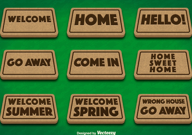 Doormat Set on Green Background Vectors - Kostenloses vector #356337