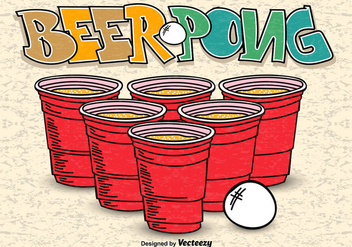 Beer Pong Hand Drawn Poster Vector - бесплатный vector #356367