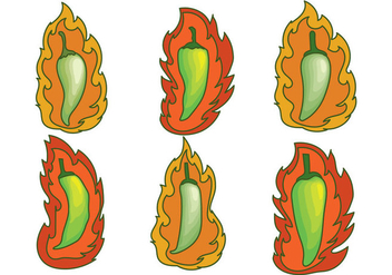 Green Hot Pepper Vectors - бесплатный vector #356427