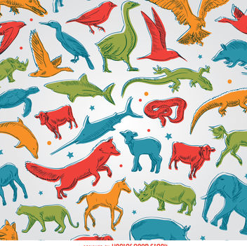 Colored animals background - vector gratuit #356507