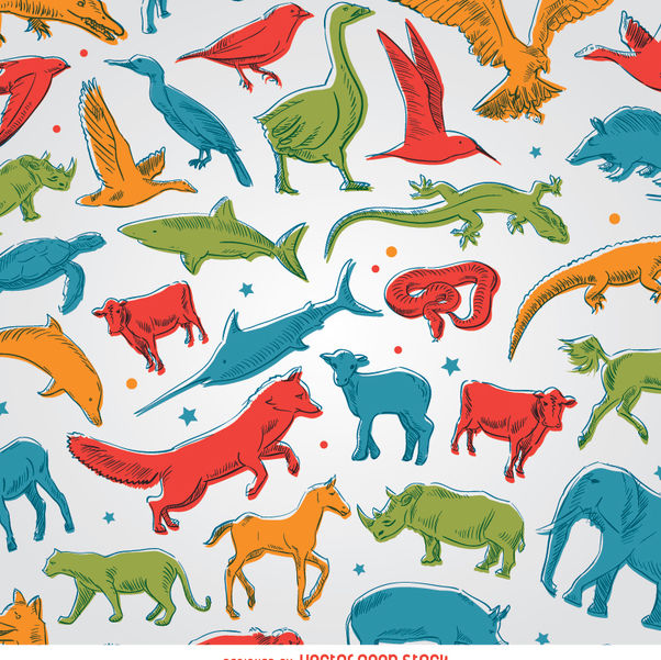 Colored animals background - vector #356507 gratis