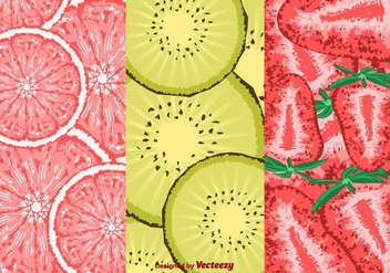 Slice Of Fruits Pattern Vector - vector #356657 gratis