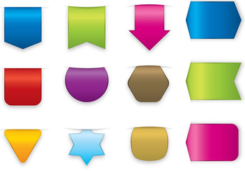 Colorful Stickers And Label Vectors - Free vector #356727
