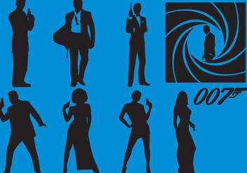 James Bond Silhouette Vectors - Free vector #356807