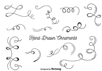Hand Drawn Ornaments Set Vector - Free vector #356877