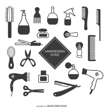 Hairdressing icon set - Free vector #356917