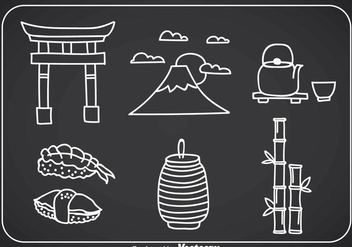 Japanese Culture Doddle Icons - Free vector #357017