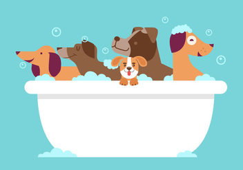 Dog Wash Vector - vector #357217 gratis