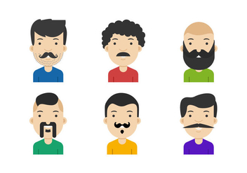 Movember Mustached Face Vectors - Free vector #357257