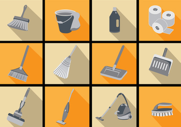 Spring Cleaning Icon Flat Vectors - vector gratuit #357287
