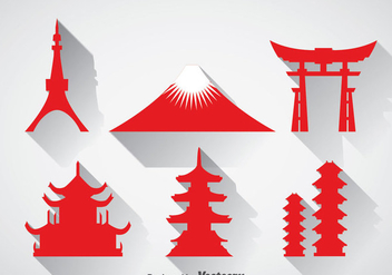 Japanese Landmark Icons Vector - Free vector #357307