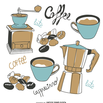 Coffee elements set in hand-drawn style - vector gratuit #357437