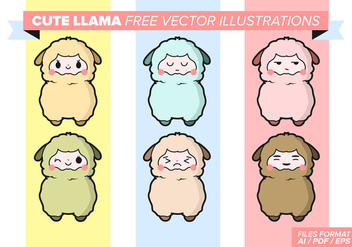 Cute Llama Free Vector Illustrations - Free vector #357517