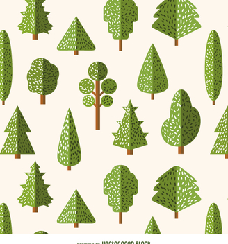 Flat style trees pattern - vector gratuit #357677