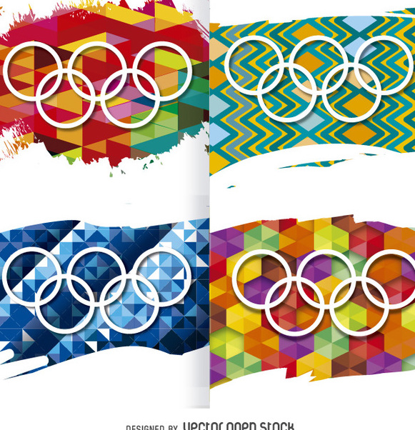 Rio 2016 - Olympic rings on backgrounds - vector gratuit #357687