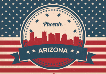 Retro Style Phoenix Arizona Skyline Illustration - vector gratuit #357747