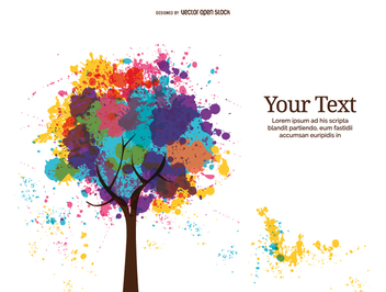 Abstract full color ink tree - Free vector #357857