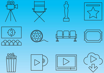 Cinema Line Icon Vectors - vector gratuit #358057