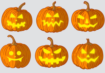 Scary Pumpkin Head Vectors - vector gratuit #358087